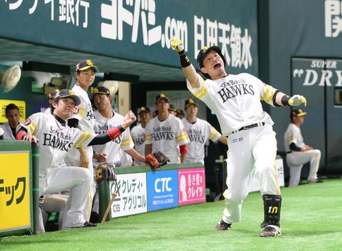 ソフトバンク対DeNA 5回裏ソフトバンク2死、松田宣浩は左越えに同点本塁打を放ちスタンドのファンに向かってポーズを決める(撮影・梅根麻紀)