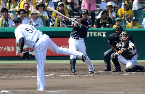 16年6月、阪神メッセンジャーから中前打を放つ千賀