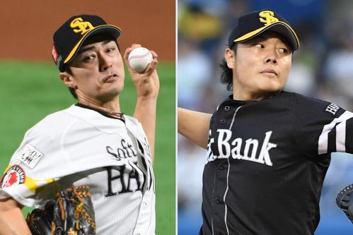 ソフトバンク和田(左)と松本