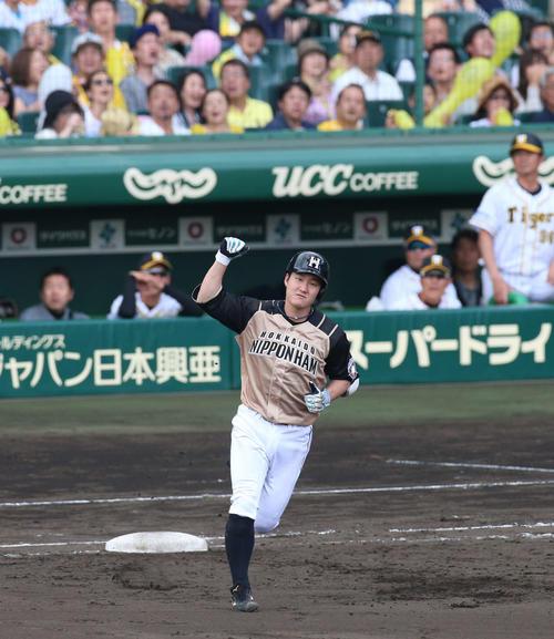 9日の阪神対日本ハム 7回表日本ハム2死満塁、渡辺は中越え満塁本塁打を放ちガッツポーズ(撮影・上山淳一)