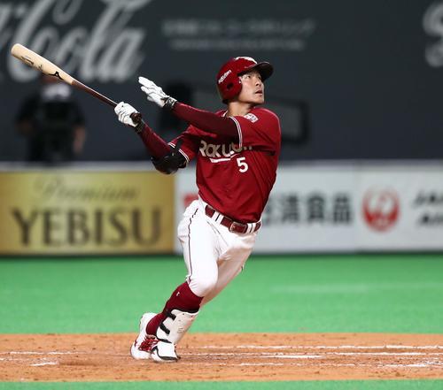 5月22日の日本ハム対楽天 5回表楽天無死、右越え本塁打を放つ茂木(撮影・黒川智章)