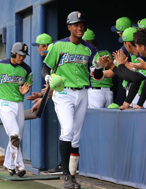 イースタン・リーグ 日本ハム対DeNA 1回裏日本ハム2死一、二塁で左翼スタンドへ逆転の3点本塁打を放ち、チームメートとハイタッチする日本ハム万波(中央)(撮影・山崎純一)