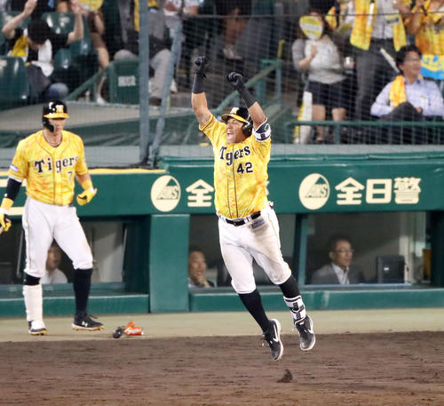 阪神対中日 9回裏阪神無死一塁、ソラーテは左越え2点本塁打を放ちサヨナラ勝ちを決める(撮影・加藤哉)