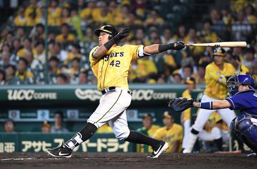 阪神対中日 9回裏阪神無死一塁、ソラーテは左越えサヨナラ2点本塁打を放つ(撮影・奥田泰也)