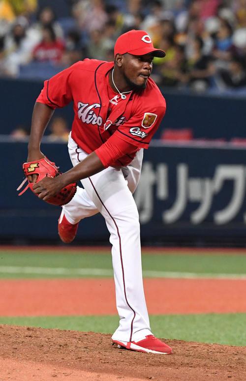 阪神対広島 9回から登板したヘロニモ・フランスア投手(撮影・奥田泰也)