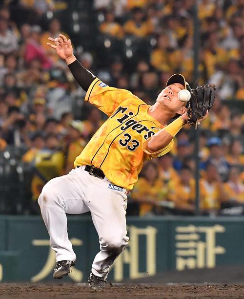 飛球を落とす阪神糸原(2019年7月30日)