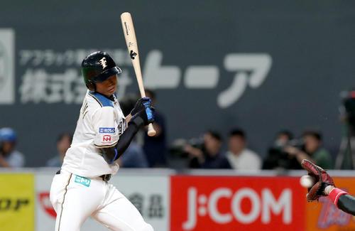 日本ハム対ソフトバンク 4回裏日本ハム2死満塁、押し出しとなる四球を選ぶ中島(撮影・佐藤翔太)