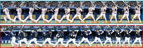 上段は7月27日の広島戦で床田の140キロを左中間へ適時二塁打、下段は8月27日のDeNA戦で上茶谷の145キロを中越えソロ本塁打した打撃フォーム