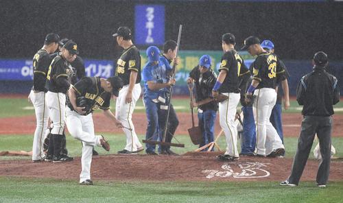DeNA対阪神 9回裏DeNA無死、ロペスに四球を与えた後、降雨のためマウンドに土が入れられる。手前はスパイクの土を落とす藤川(撮影・鈴木みどり)