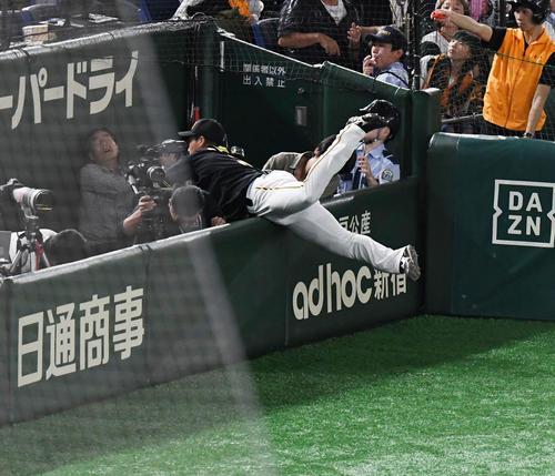 巨人対阪神 5回裏巨人2死、丸のファウルを追う大山はカメラ席に飛び込む(撮影・奥田泰也)