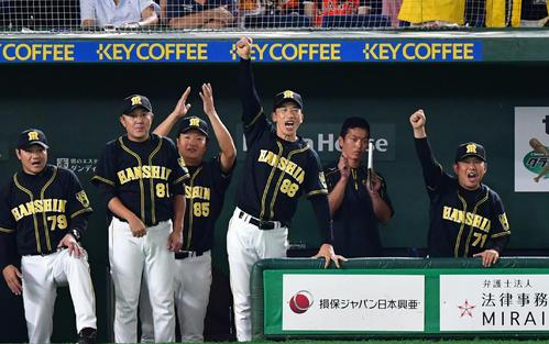 5回表阪神2死満塁、近本の走者一掃の逆転適時三塁打に右手を突き上げる矢野監督(撮影・清水貴仁)