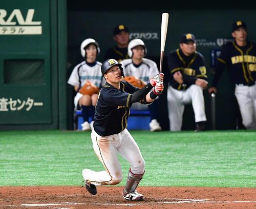 9回表阪神無死、右越え勝ち越し本塁打を放つ大山悠輔(撮影・清水貴仁)