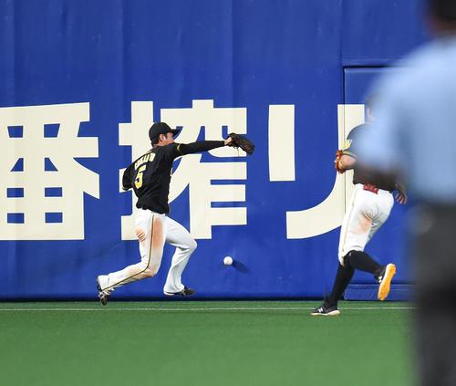 19年7月16日、中日対阪神戦 9回裏中日1死一塁、平田良介の打球を追うも捕球できない近本光司(撮影・森本幸一)