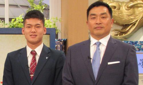 山本昌氏(右)とドラゴンズ応援番組内で初対面した石川