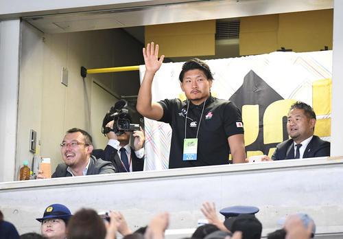 場内アナウンスで紹介され、手を挙げて歓声に応えるラグビー日本代表の稲垣(撮影・加藤諒)