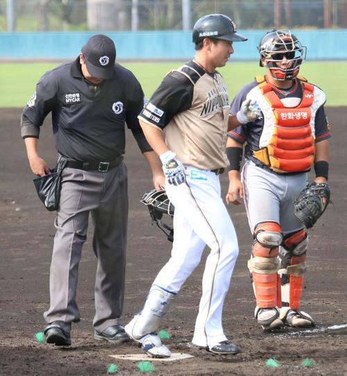 フェニックス・リーグ 韓国ハンファ対日本ハム 4回表無死 7月に右肘手術後、初の本塁打を放った日本ハム松本(撮影・木下大輔)