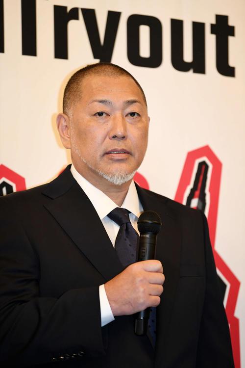 ワールドトライアウト2019の監督に就任した清原和博氏(撮影・横山健太)