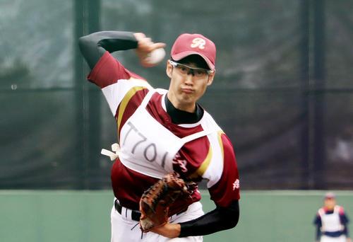 BCリーグのトライアウトを受験した杉浦健二郎(撮影・金子真仁)