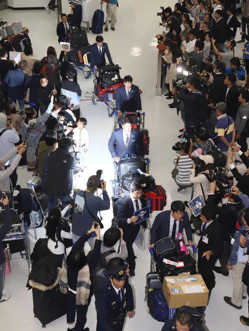 台湾から成田空港に帰国した稲葉監督(中央)ら侍ジャパンの選手たち(撮影・垰建太)