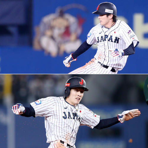 日本対オーストラリア 7回裏日本、代走周東は二盗、三盗を決める(撮影・加藤哉)