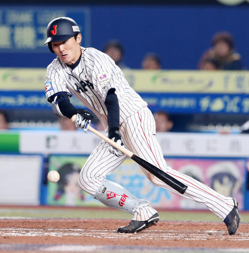日本対オーストラリア 7回裏日本2死三塁、源田は三塁線にバントを決める(撮影・加藤哉)