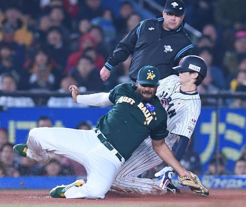 日本対オーストラリア 7回裏日本2死二塁、三盗を決める代走周東(右)(以上、撮影・たえ見朱実)