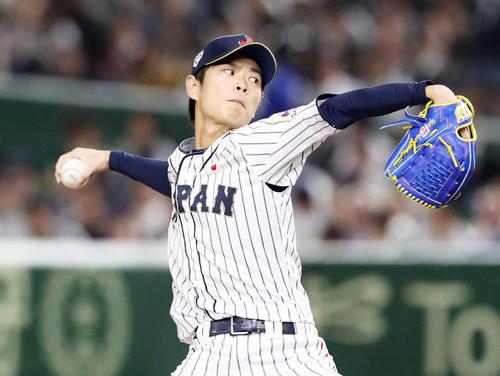 日本対米国 5回表、日本2番手で登板する山岡(撮影・加藤哉)