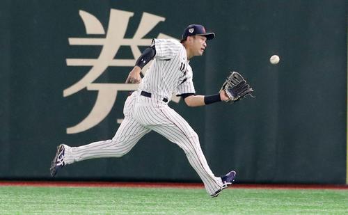 日本対韓国 5回表韓国1死満塁、鈴木は姜白虎の飛球を捕球する(撮影・加藤哉)
