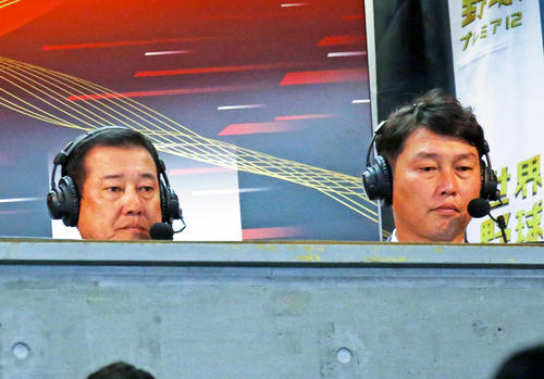 解説で訪れた巨人原監督(左)と新井貴浩氏(撮影・浅見桂子)