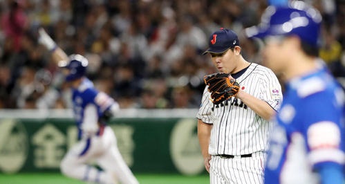 日本対韓国 1回表韓国無死一塁、山口は金河成に左越え2点本塁打を被弾(撮影・加藤哉)