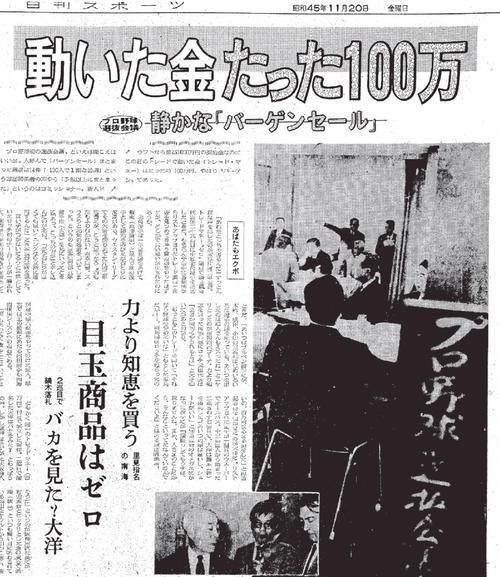 第1回選抜会議を伝える70年11月20日付の日刊スポーツ紙面