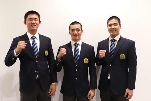 来年のドラフト候補の(写真左から)平内龍太、矢野雅哉、内間拓馬(撮影・保坂淑子