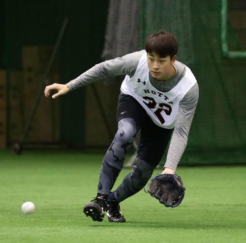 軽快な動きで打球を追うドラフト1位の堀田(撮影・丹羽敏通)