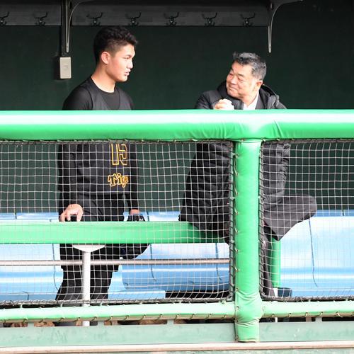 新人合同自主トレで川藤OB会長(右)の話しを聞く西純矢(撮影・前岡正明)