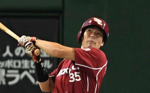 16年8月、日本ハム戦で本塁打を放つ島内