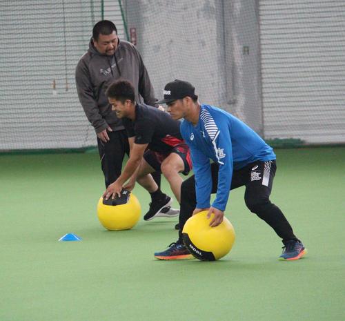 トレーニングする弟の巨人田中俊(左)と広島田中広(撮影・久保賢吾)
