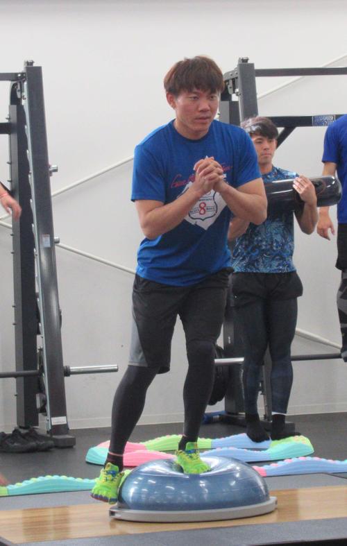 自主トレでバランスを意識してトレーニングする中日大島(撮影・伊東大介)