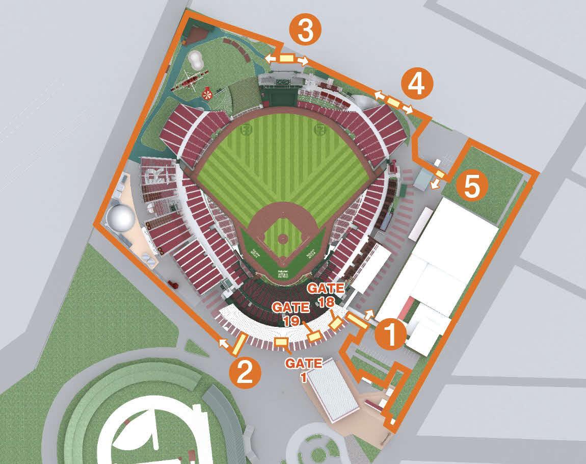 今季から入場を全面QR化する楽天生命パークに設置される5つのエントランス図