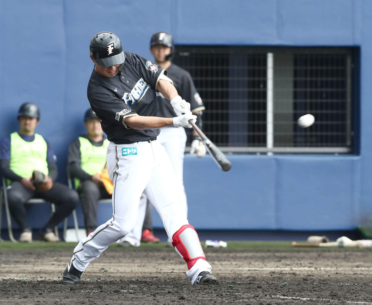 日本ハム紅白戦 5回表紅組2死一塁、左越え2点本塁打を放つ高浜(撮影・黒川智章)