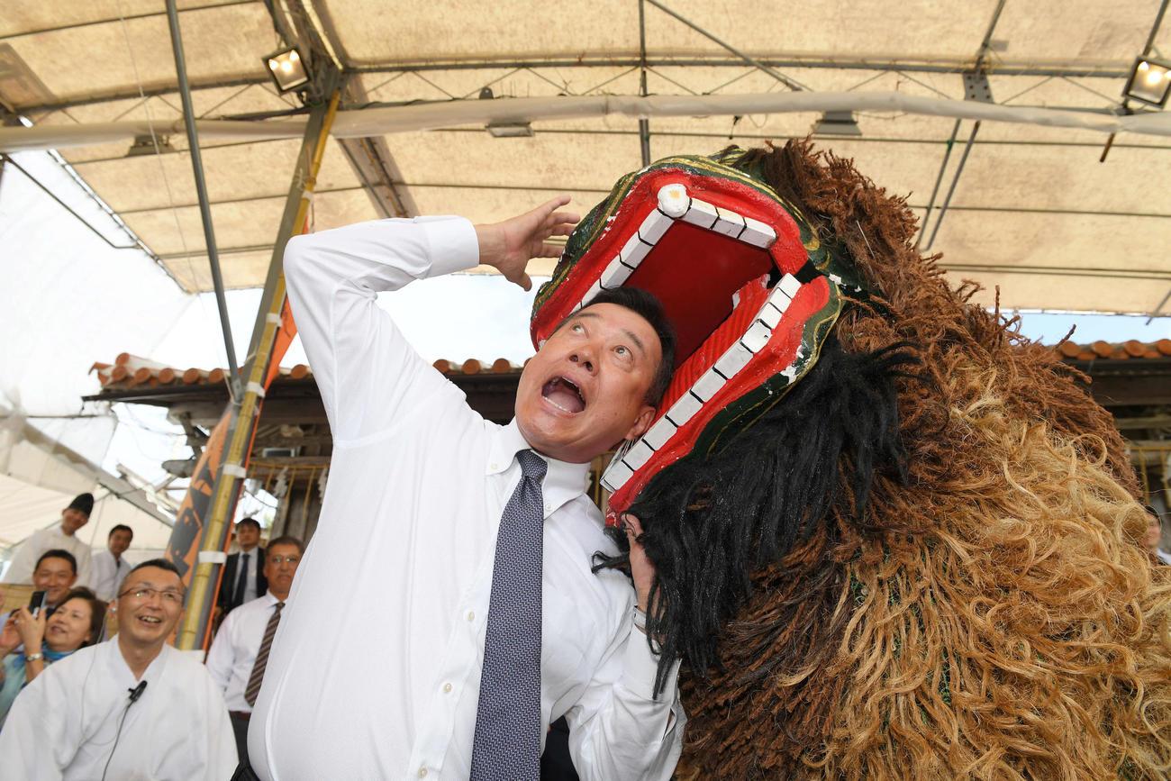 沖宮への参拝後、獅子に頭をかまれる巨人原監督(撮影・加藤諒)