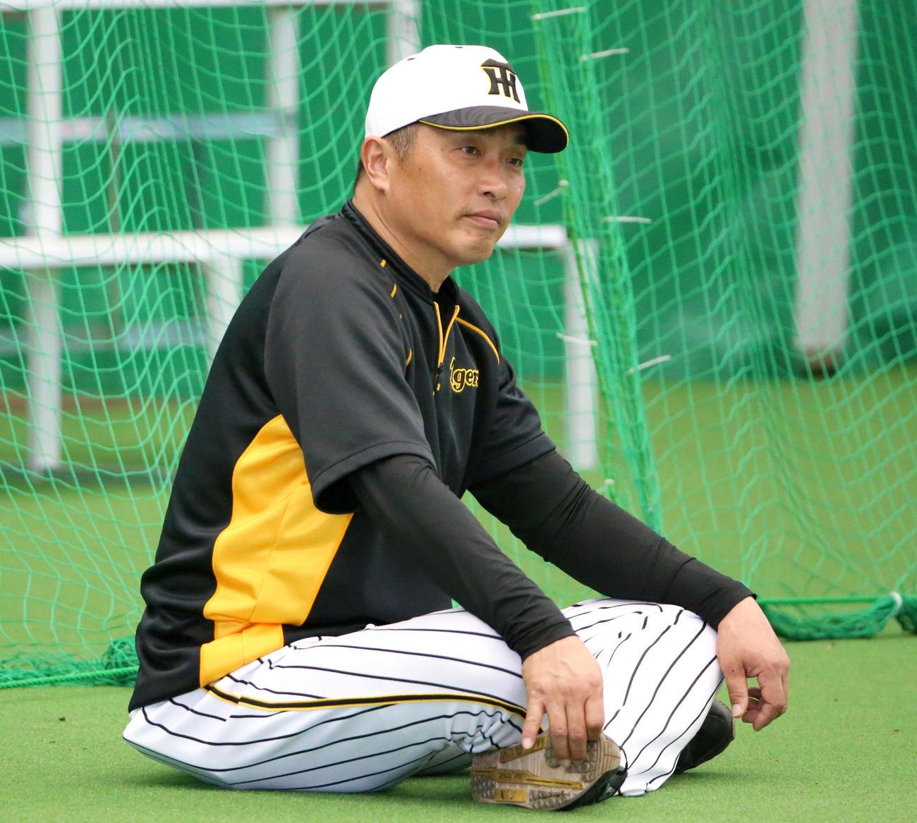 ブルペンで座って投球を見る山本昌臨時コーチ(撮影・上山淳一)