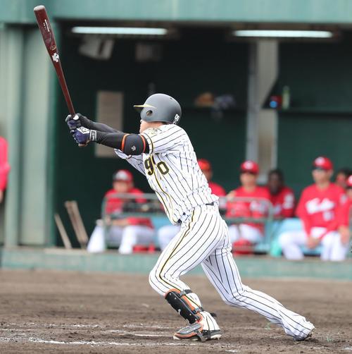 練習試合阪神対広島 5回裏阪神1死満塁、上本の中犠飛で1点を返す(撮影・清水貴仁)
