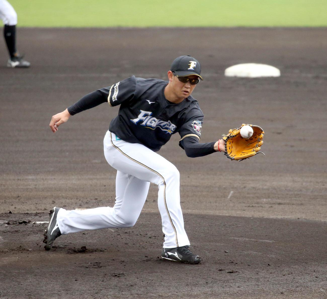 投内連係で打球を捕球する日本ハム鈴木健(撮影・佐藤翔太)