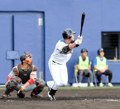 日本ハム対巨人 7回裏日本ハム1死一塁、王柏融は適時二塁打を放つ(撮影・佐藤翔太)