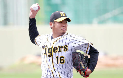 紅白戦に登板する阪神西勇輝(2020年2月18日)