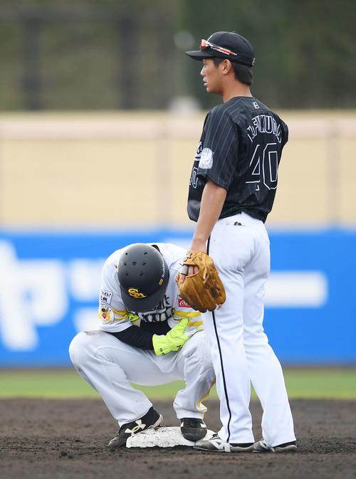 ソフトバンク対ロッテ 5回裏ソフトバンク1死一塁、打者栗原の時、一塁けん制球が左腕に当たった松田宣は二塁上で痛がる。右は遊撃手福田光(撮影・鈴木みどり)