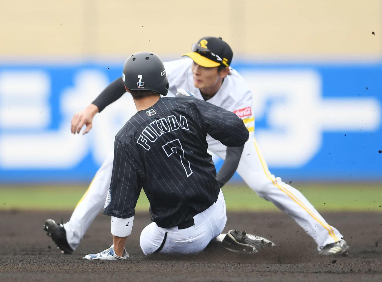 ソフトバンク対ロッテ 6回表ロッテ2死一塁、打者井上の時、二盗する福田秀。二塁手周東(撮影・鈴木みどり)