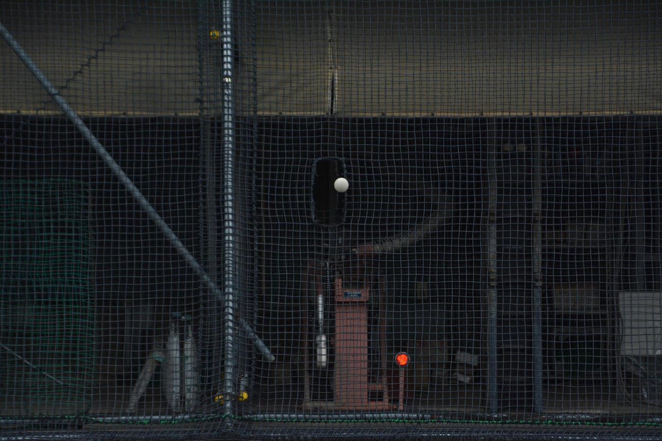アーム式マシンは高低調整機能つき。ゲーム中に球速が変わる実戦タイプもある