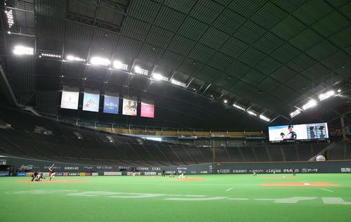 日本ハム対オリックス 無観客の中、試合を行う(撮影・黒川智章)
