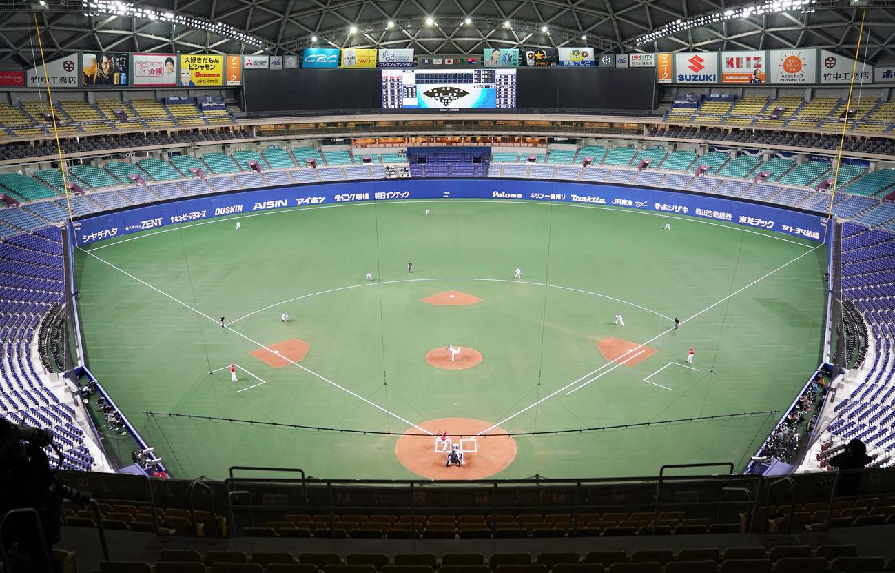 プロ野球オープン戦 中日対広島は無観客で行われた(撮影・森本幸一)